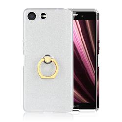Luxury Soft TPU Glitter Back Ring Cover with 360 Rotate Finger Holder Buckle for Sony Xperia XZ4 Compact - White