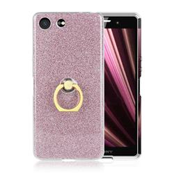 Luxury Soft TPU Glitter Back Ring Cover with 360 Rotate Finger Holder Buckle for Sony Xperia XZ4 Compact - Pink