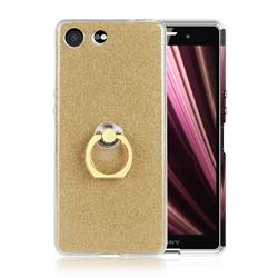 Luxury Soft TPU Glitter Back Ring Cover with 360 Rotate Finger Holder Buckle for Sony Xperia XZ4 Compact - Golden