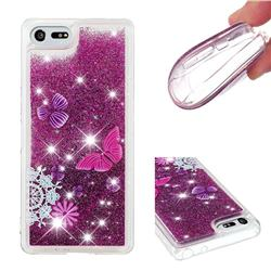 Purple Flower Butterfly Dynamic Liquid Glitter Quicksand Soft TPU Case for Sony Xperia XZ4 Compact