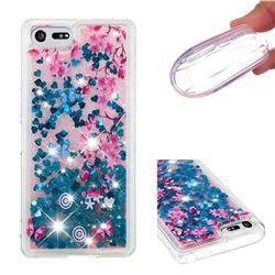 Blue Plum Blossom Dynamic Liquid Glitter Quicksand Soft TPU Case for Sony Xperia XZ4 Compact