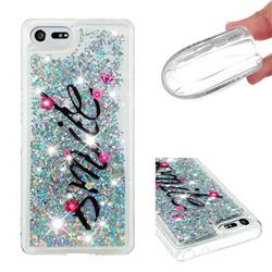Smile Flower Dynamic Liquid Glitter Quicksand Soft TPU Case for Sony Xperia XZ4 Compact