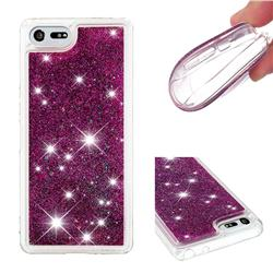 Dynamic Liquid Glitter Quicksand Sequins TPU Phone Case for Sony Xperia XZ4 Compact - Purple