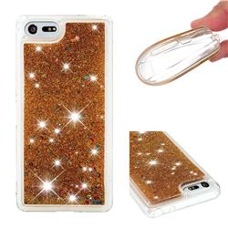 Dynamic Liquid Glitter Quicksand Sequins TPU Phone Case for Sony Xperia XZ4 Compact - Golden
