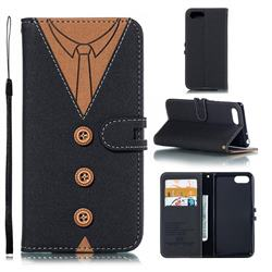 Mens Button Clothing Style Leather Wallet Phone Case for Sony Xperia 1 / Xperia XZ4 Compact - Black
