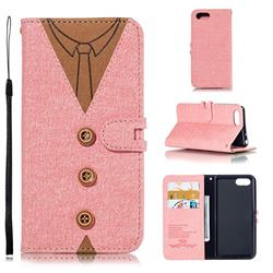 Mens Button Clothing Style Leather Wallet Phone Case for Sony Xperia XZ4 Compact - Pink