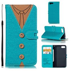 Mens Button Clothing Style Leather Wallet Phone Case for Sony Xperia 1 / Xperia XZ4 Compact - Green