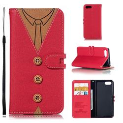 Mens Button Clothing Style Leather Wallet Phone Case for Sony Xperia XZ4 Compact - Red