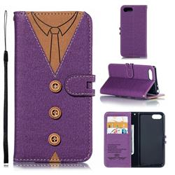 Mens Button Clothing Style Leather Wallet Phone Case for Sony Xperia 1 / Xperia XZ4 Compact - Purple