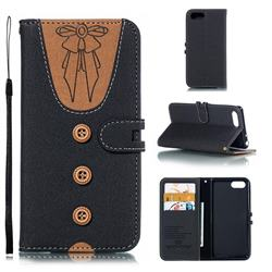 Ladies Bow Clothes Pattern Leather Wallet Phone Case for Sony Xperia XZ4 Compact - Black