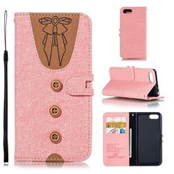 Ladies Bow Clothes Pattern Leather Wallet Phone Case for Sony Xperia 1 / Xperia XZ4 Compact - Pink