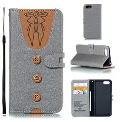 Ladies Bow Clothes Pattern Leather Wallet Phone Case for Sony Xperia XZ4 Compact - Gray