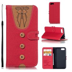 Ladies Bow Clothes Pattern Leather Wallet Phone Case for Sony Xperia 1 / Xperia XZ4 Compact - Red