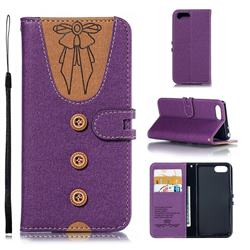 Ladies Bow Clothes Pattern Leather Wallet Phone Case for Sony Xperia XZ4 Compact - Purple