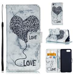 Marble Heart PU Leather Wallet Phone Case for Sony Xperia 1 / Xperia XZ4 Compact - Black