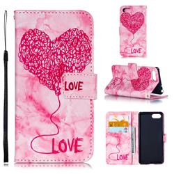 Marble Heart PU Leather Wallet Phone Case for Sony Xperia XZ4 Compact - Red
