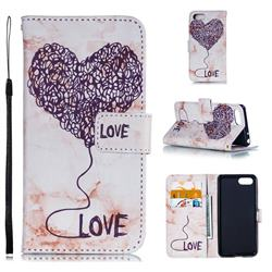 Marble Heart PU Leather Wallet Phone Case for Sony Xperia 1 / Xperia XZ4 Compact - Purple