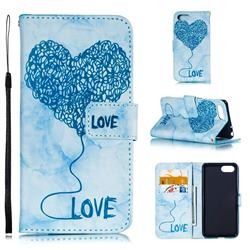 Marble Heart PU Leather Wallet Phone Case for Sony Xperia XZ4 Compact - Blue