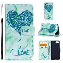 Marble Heart PU Leather Wallet Phone Case for Sony Xperia 1 / Xperia XZ4 Compact - Green