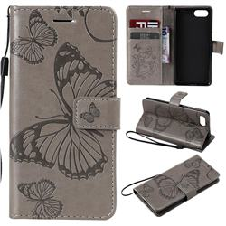Embossing 3D Butterfly Leather Wallet Case for Sony Xperia XZ4 Compact - Gray