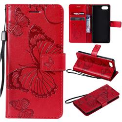 Embossing 3D Butterfly Leather Wallet Case for Sony Xperia XZ4 Compact - Red