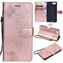 Embossing 3D Butterfly Leather Wallet Case for Sony Xperia XZ4 Compact - Rose Gold