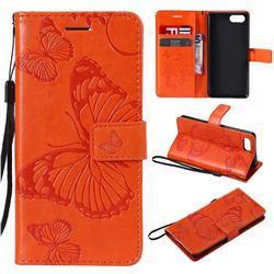Embossing 3D Butterfly Leather Wallet Case for Sony Xperia XZ4 Compact - Orange