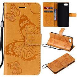 Embossing 3D Butterfly Leather Wallet Case for Sony Xperia XZ4 Compact - Yellow