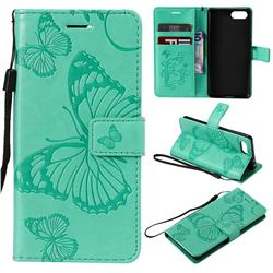 Embossing 3D Butterfly Leather Wallet Case for Sony Xperia XZ4 Compact - Green