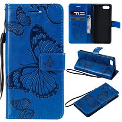 Embossing 3D Butterfly Leather Wallet Case for Sony Xperia XZ4 Compact - Blue