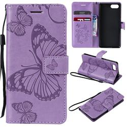 Embossing 3D Butterfly Leather Wallet Case for Sony Xperia XZ4 Compact - Purple