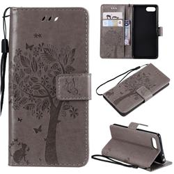 Embossing Butterfly Tree Leather Wallet Case for Sony Xperia XZ4 Compact - Grey