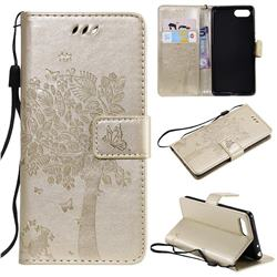 Embossing Butterfly Tree Leather Wallet Case for Sony Xperia XZ4 Compact - Champagne