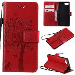 Embossing Butterfly Tree Leather Wallet Case for Sony Xperia XZ4 Compact - Red