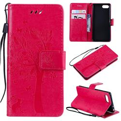 Embossing Butterfly Tree Leather Wallet Case for Sony Xperia XZ4 Compact - Rose