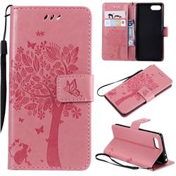 Embossing Butterfly Tree Leather Wallet Case for Sony Xperia XZ4 Compact - Pink