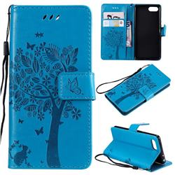 Embossing Butterfly Tree Leather Wallet Case for Sony Xperia XZ4 Compact - Blue