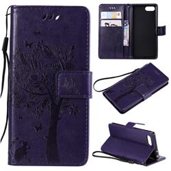 Embossing Butterfly Tree Leather Wallet Case for Sony Xperia XZ4 Compact - Purple