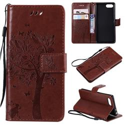 Embossing Butterfly Tree Leather Wallet Case for Sony Xperia XZ4 Compact - Coffee