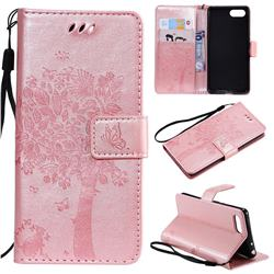 Embossing Butterfly Tree Leather Wallet Case for Sony Xperia XZ4 Compact - Rose Pink