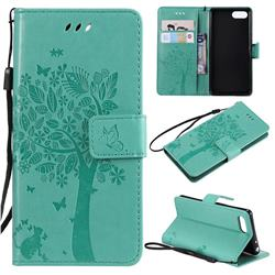 Embossing Butterfly Tree Leather Wallet Case for Sony Xperia XZ4 Compact - Cyan