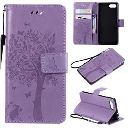 Embossing Butterfly Tree Leather Wallet Case for Sony Xperia XZ4 Compact - Violet