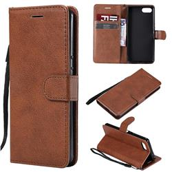 Retro Greek Classic Smooth PU Leather Wallet Phone Case for Sony Xperia XZ4 Compact - Brown
