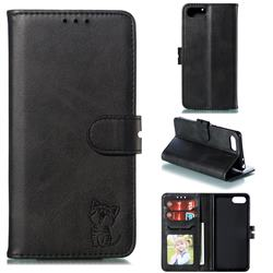 Embossing Happy Cat Leather Wallet Case for Sony Xperia XZ4 Compact - Black