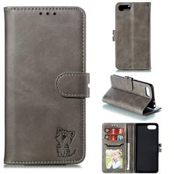 Embossing Happy Cat Leather Wallet Case for Sony Xperia XZ4 Compact - Gray