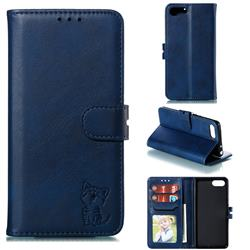 Embossing Happy Cat Leather Wallet Case for Sony Xperia XZ4 Compact - Blue