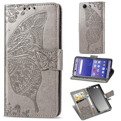 Embossing Mandala Flower Butterfly Leather Wallet Case for Sony Xperia XZ4 Compact - Gray
