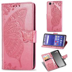 Embossing Mandala Flower Butterfly Leather Wallet Case for Sony Xperia XZ4 Compact - Pink