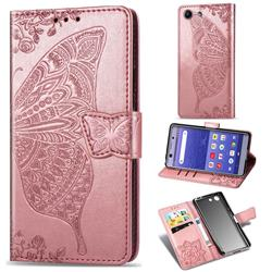 Embossing Mandala Flower Butterfly Leather Wallet Case for Sony Xperia XZ4 Compact - Rose Gold