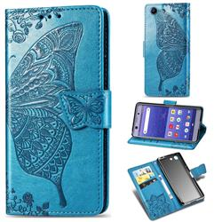 Embossing Mandala Flower Butterfly Leather Wallet Case for Sony Xperia XZ4 Compact - Blue